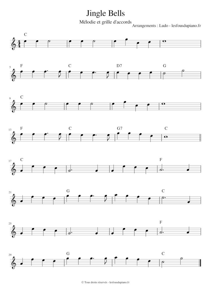 Jingle Bells - partition - sheet - en do majeur