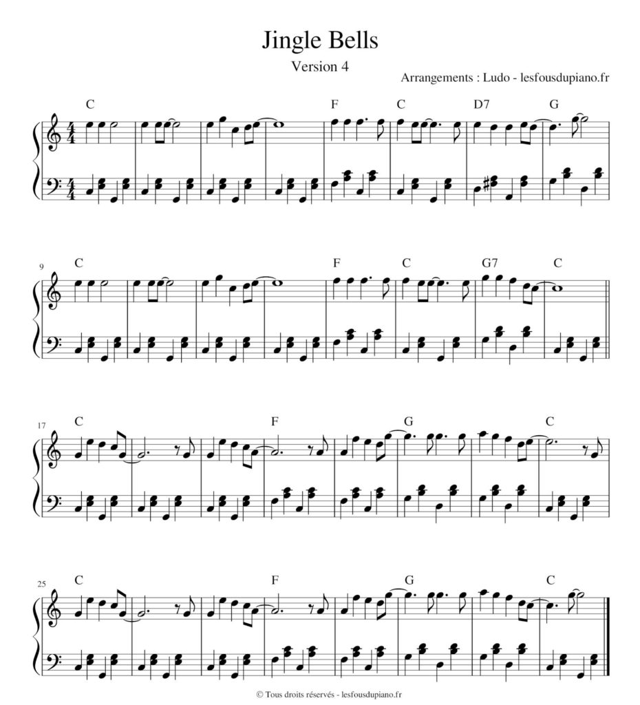 Jingle Bells - ragtime - partition - sheet