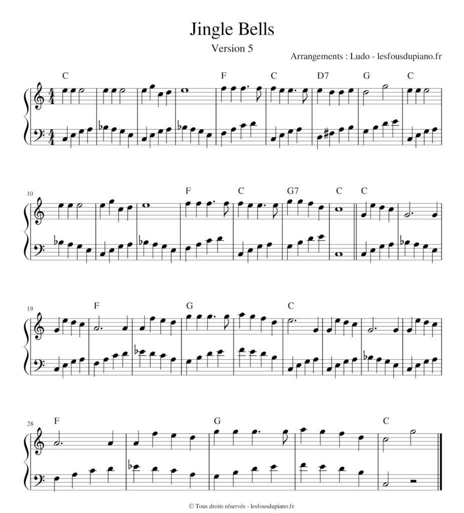 Jingle Bells - rock'n'roll - boogie - partition - sheet